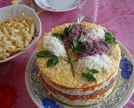 рецепт салата мимоза с картошкой и маслом