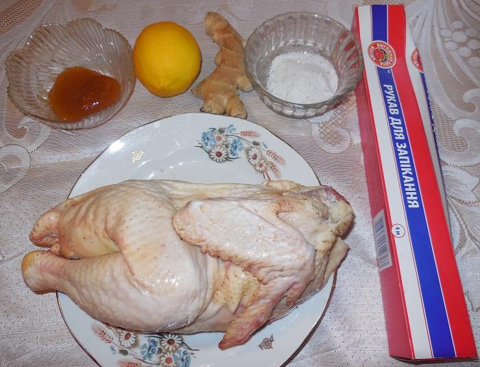рецепт половина курицы в духовке в рукаве