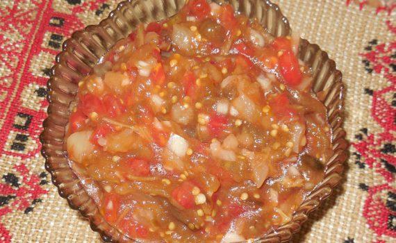 Сырая икра из запеченных в духовке баклажан