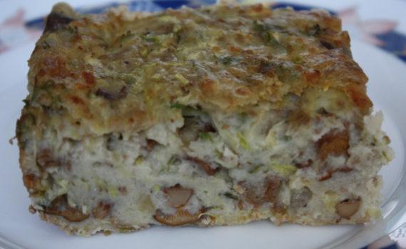 Овощной террин из кабачков с грибами и сыром