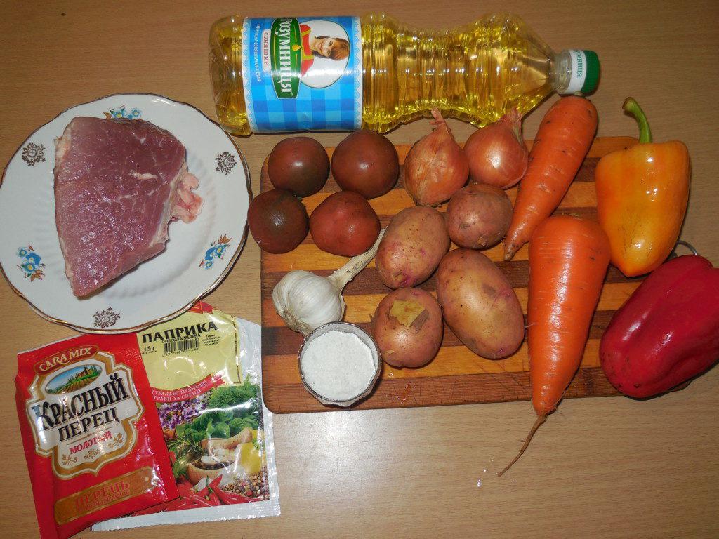 Тушеная картошка с мясом и овощами в мультиварке.
