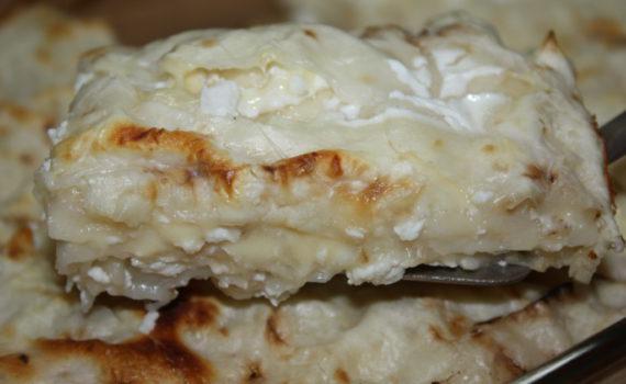 Ленивая ачма из лаваша с сыром в духовке