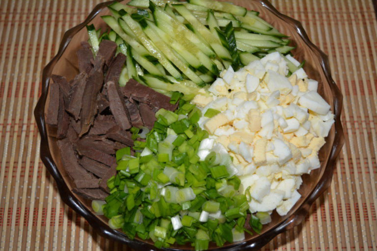 Салат с сердцем и огурцами рецепты с