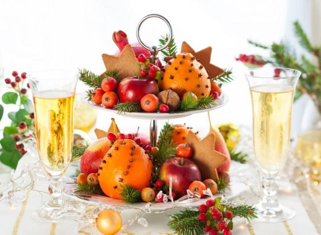 Фруктовые новогодние десерты на год Петуха 2017