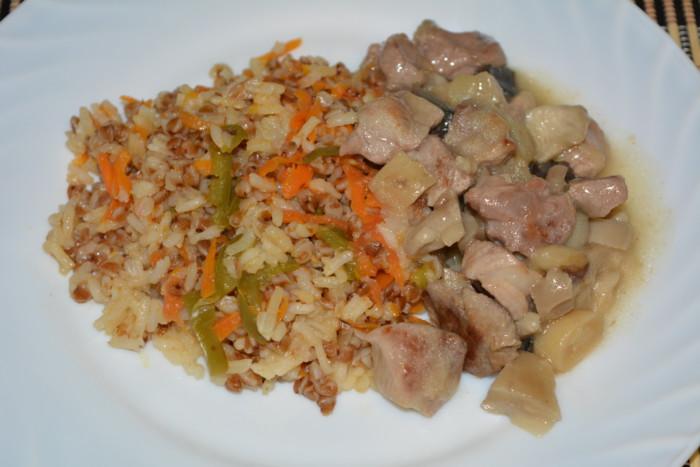 Гарнир - гречка с рисом и овощами