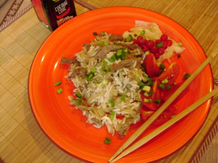 Рис с овощами с мясом на сковороде рецепт