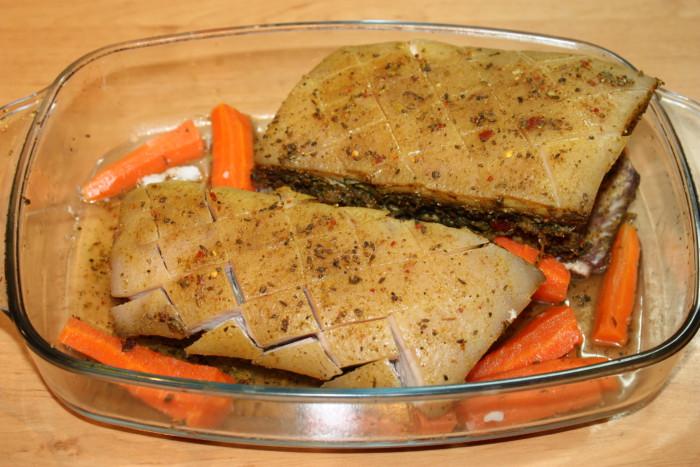 рецепт грудинка с овощами в духовке