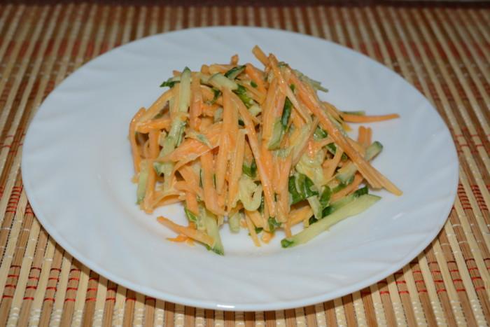 Салат с тыквой и огурцом