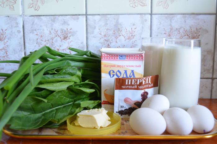 заливной пирог с яйцом и зеленью