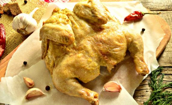 Цыпленок в духовке целиком запеченный в фольге