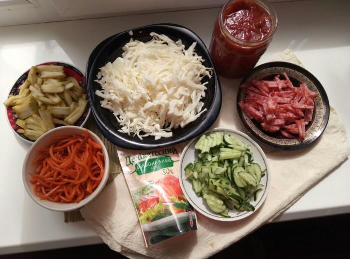Как сделать домашнюю шаурму с колбасой рецепт 113