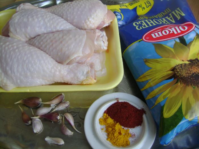 Куриные голени в духовке - в майонезе, с чесноком и специями