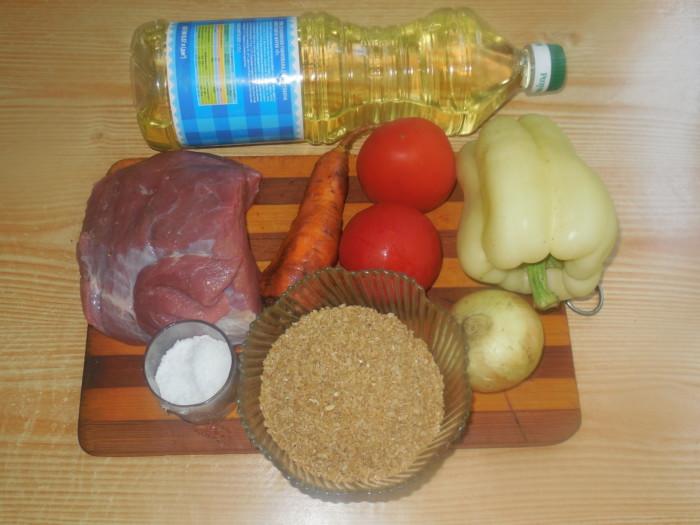 Каша булгур с овощами и мясом в мультиварке