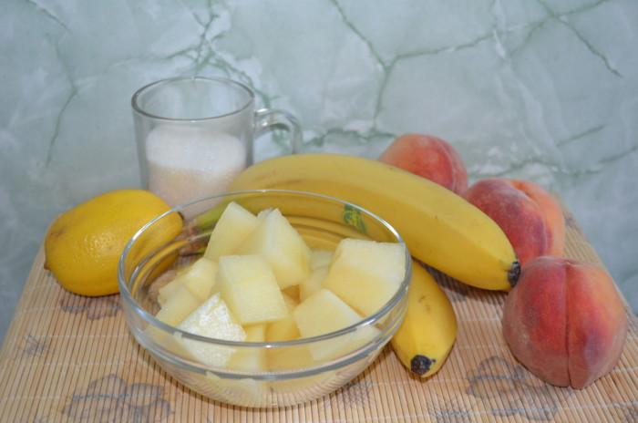 Мороженое сорбет из дыни, персика и банана