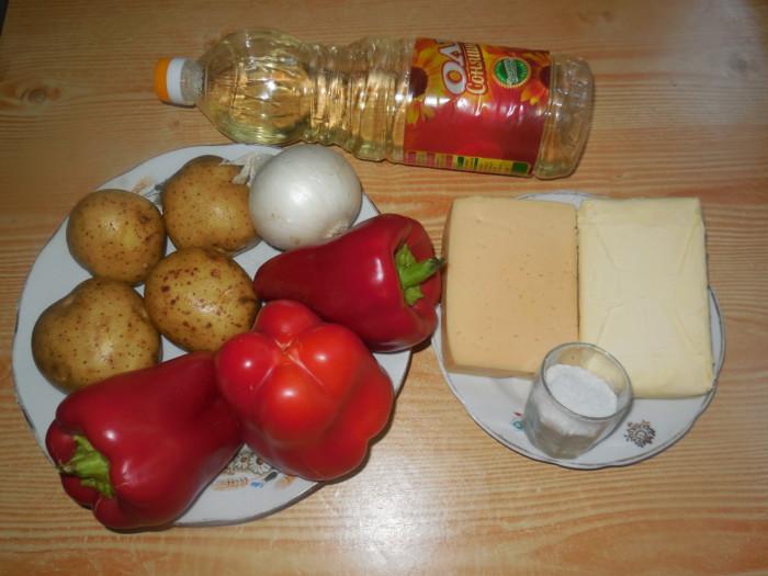 болгарский перец фаршированный картофельным пюре и сыром