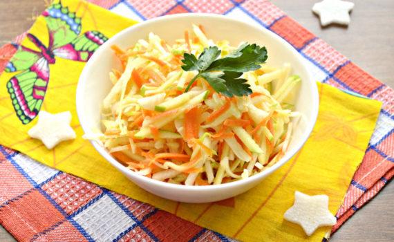 Салат из дайкона с морковью - вкусный овощной салат с растительным маслом