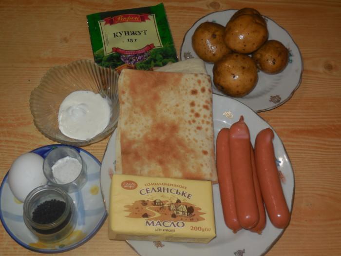 Вкусные рулетики из лаваша с картошкой и сосиской