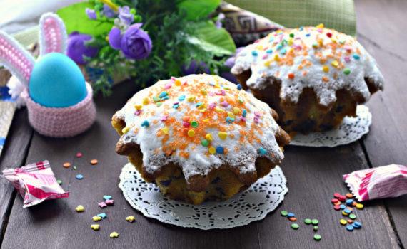 Самый вкусный пасхальный кекс в формочках - на соде, с изюмом