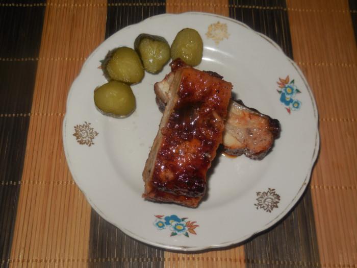 Свиные ребрышки в медовом соусе запеченные в духовке