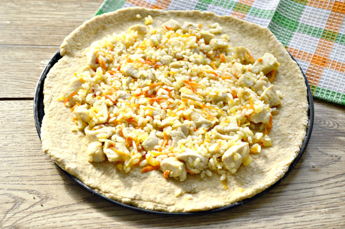 Пирог из цельнозерновой муки с курицей и рисом