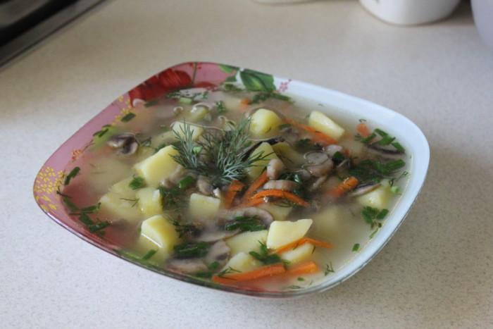 Чешский грибной суп с картофелем и зажаркой