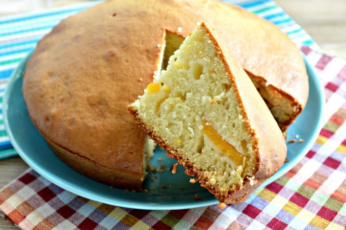 Быстрый пирог на кефире с абрикосами