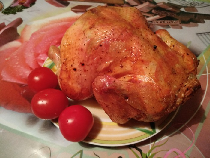 Курица на банке в духовке запеченная целиком