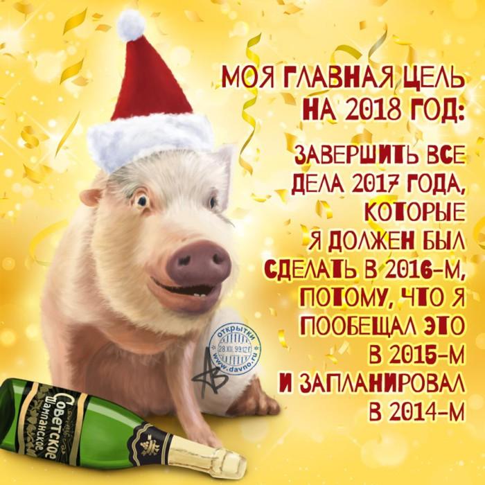 Смешные и прикольные поздравительные открытки на Новый год 2019
