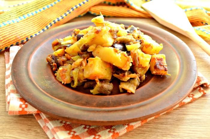 Овощное рагу с грибами и баклажанами - простое и вкусное