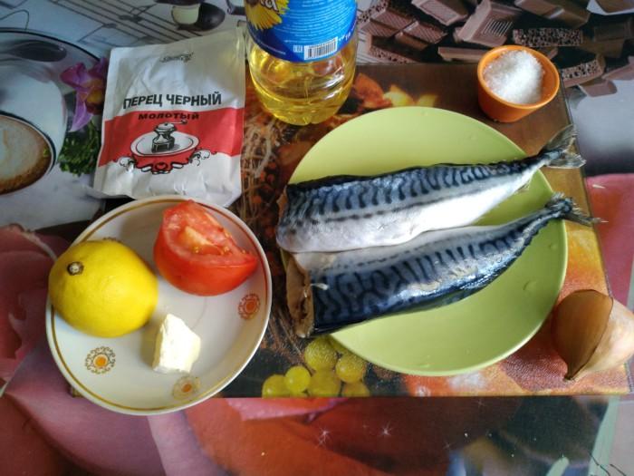 Скумбрия запеченная с помидорами и лимоном в фольге
