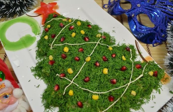 оформление салатов к новогоднему столу