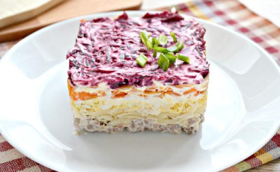 Салат Мой генерал - мужской салат с говядиной и сыром