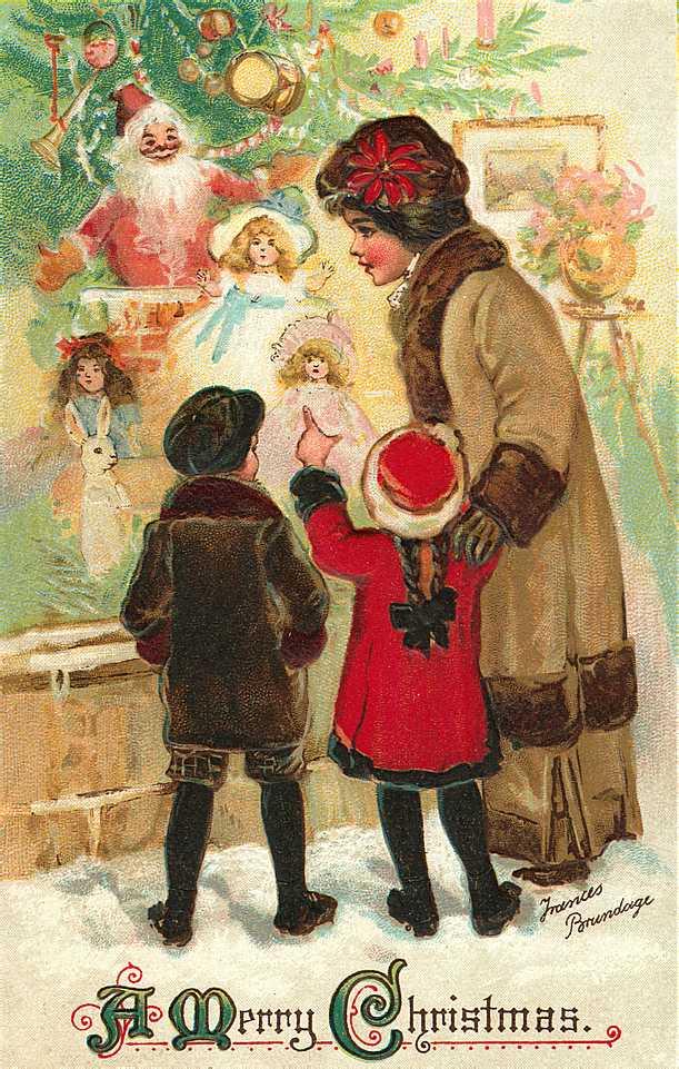 Милые старинные открытки с Рождеством