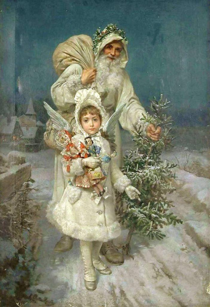 Оригинальные старые открытки с Рождеством Христовым