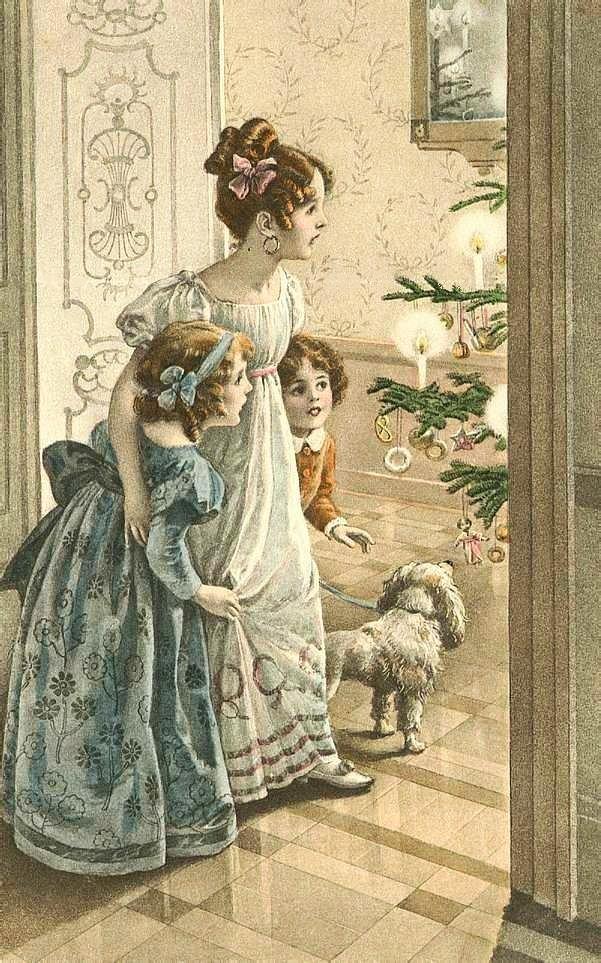 Стильные ретро-открытки с Рождеством
