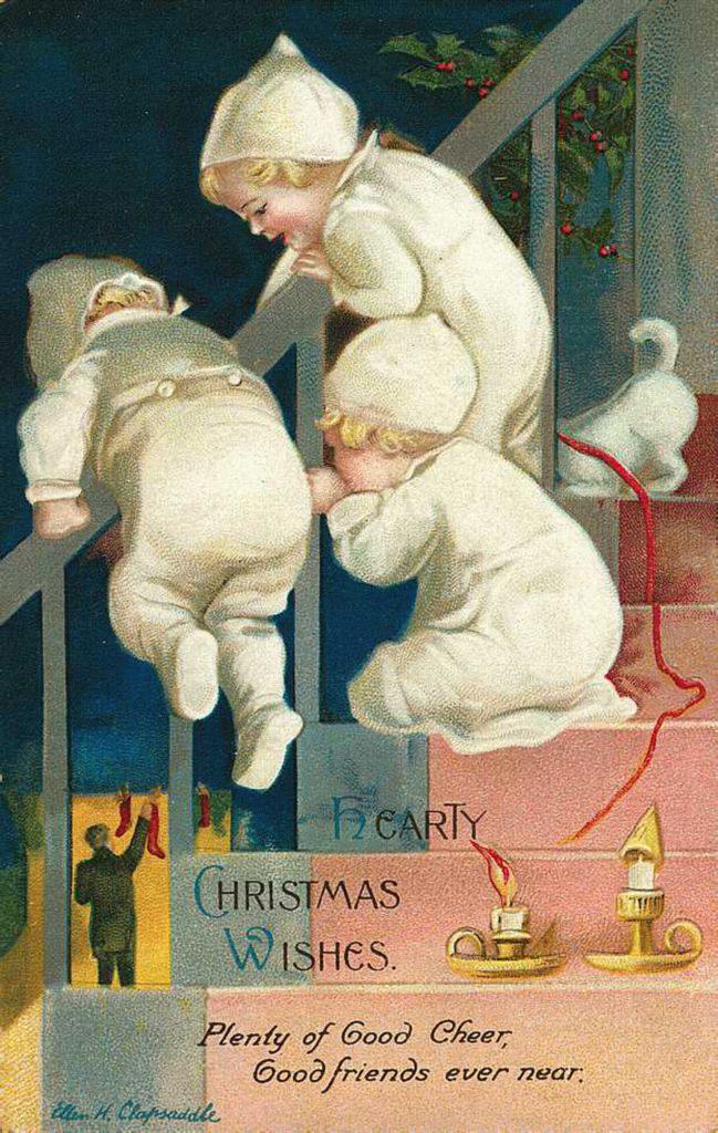 Прикольные старинные открытки с Рождеством