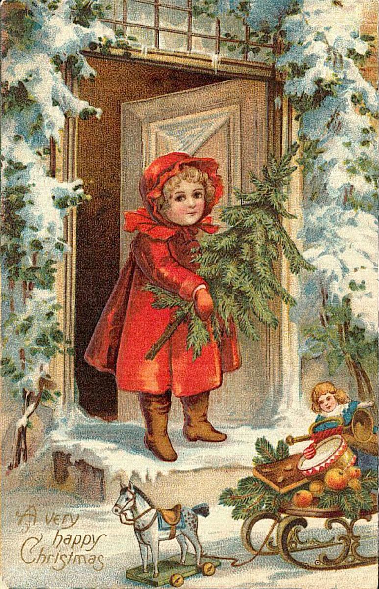 Старинная открытка с католическим рождеством, открытка днем рождения