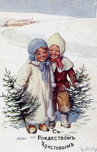 Милые старинные открытки к Рождеству