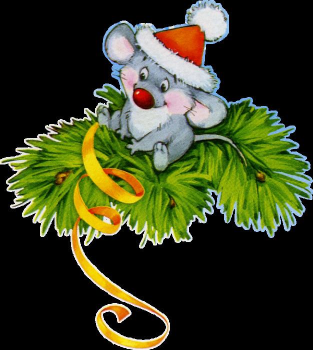 Бесплатные нарисованные картинки с мышами на Новый год