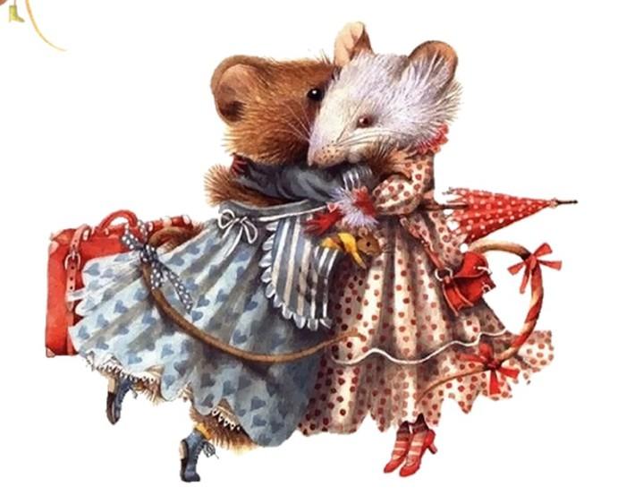 Стильные прикольные нарисованные картинки с новогодними крысами и мышками