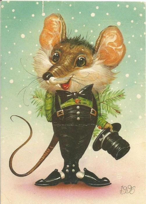 Необычные рисунки с новогодними крысами и мышами