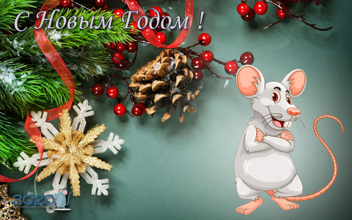 Оригинальные открытки с новогодними мышками и крысами