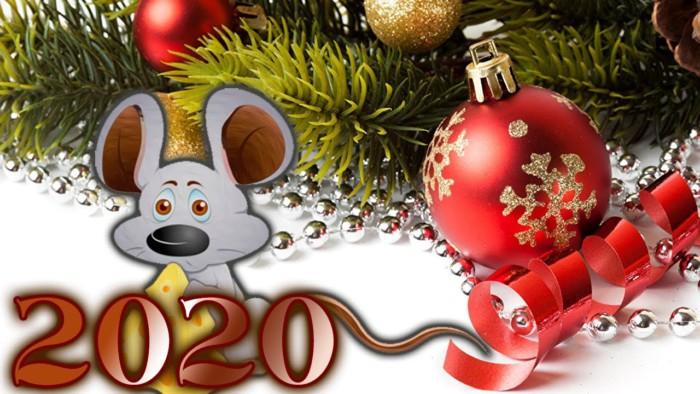 Необычные открытки с новогодними крысами и мышами в хорошем качестве, в большом разрешении