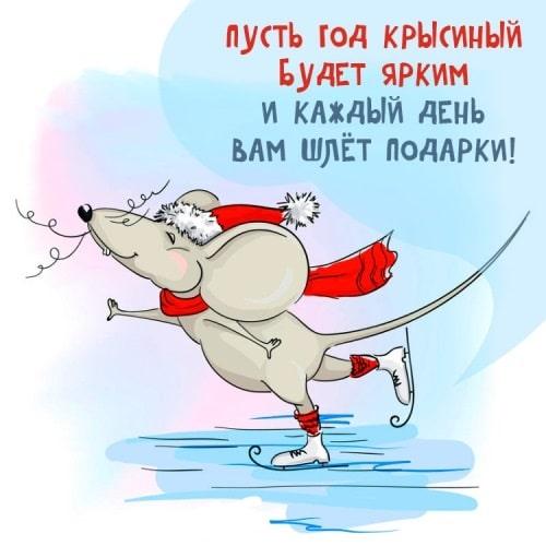 Новогодние открытки на год Крысы короткое поздравление