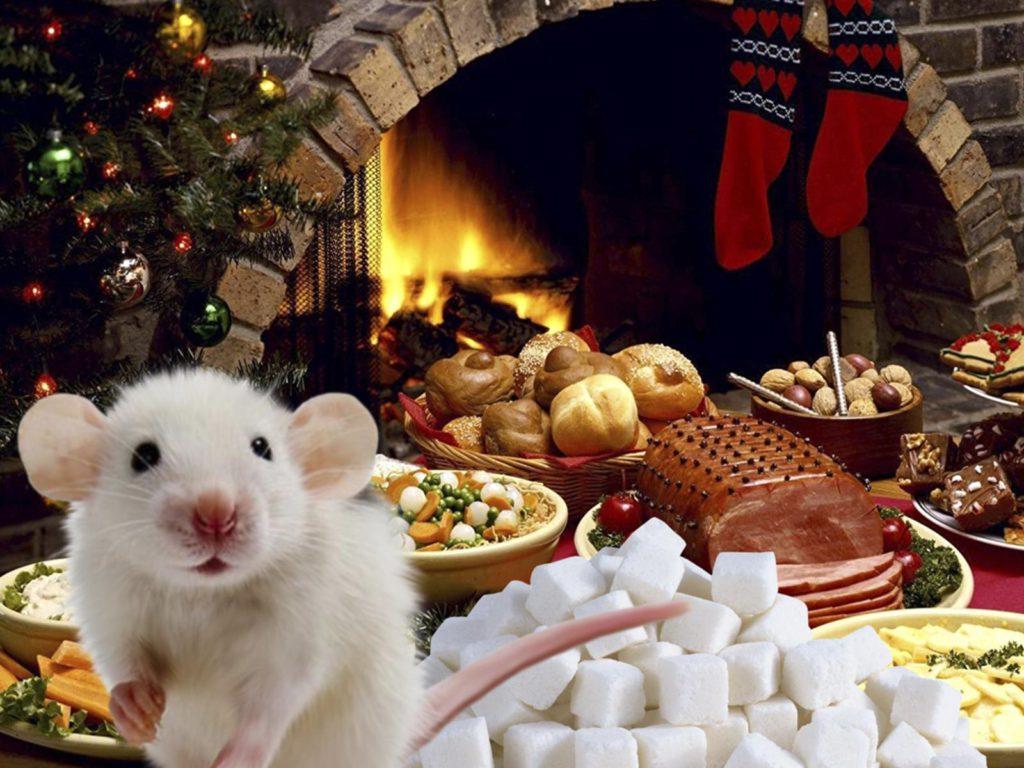 Бесплатные обои с мышами на Новый год